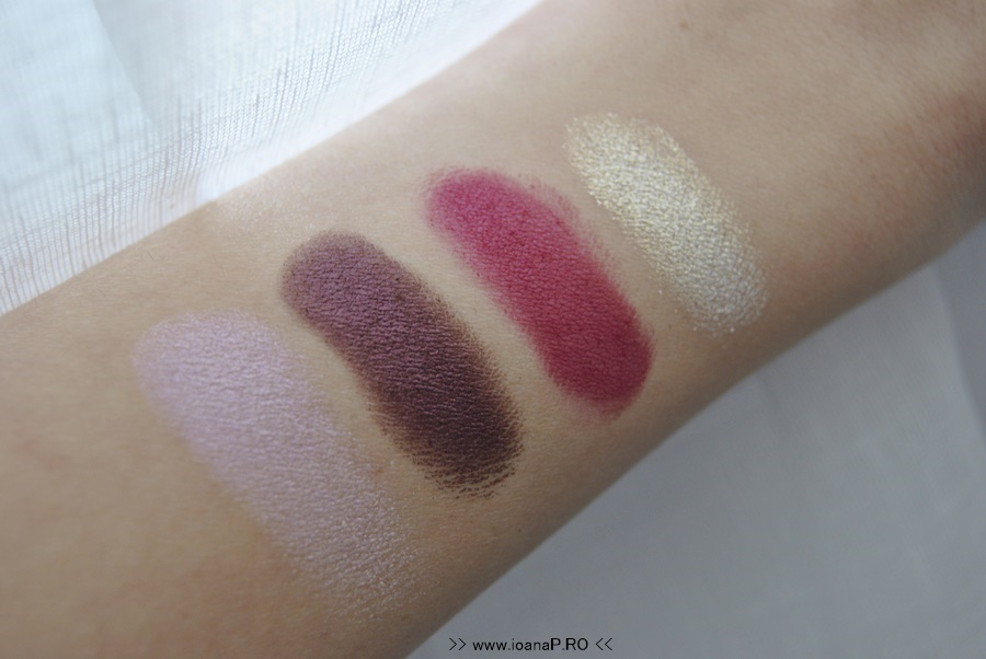 swatch farduri Melkior Camee Rose Frosted Purple Wild Cherry Festive Gold