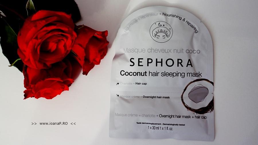 reviu mască de noapte pentru păr cu cocos de la Sephora foto1