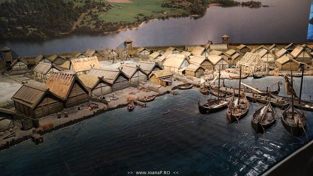 Machetă a unei așezări vikinge.