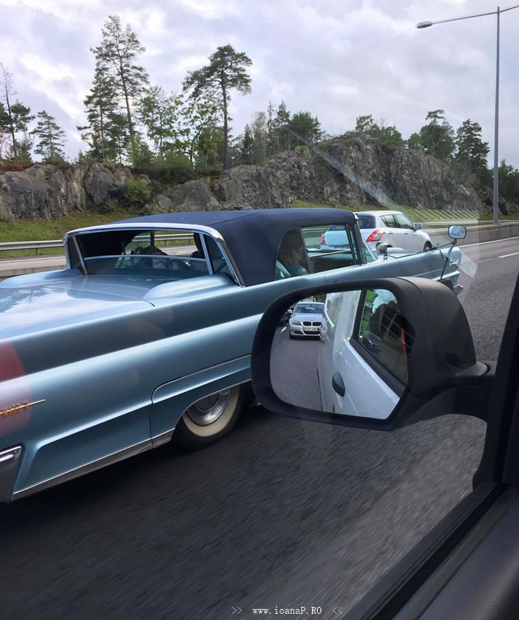 old car on motorway in Sweden