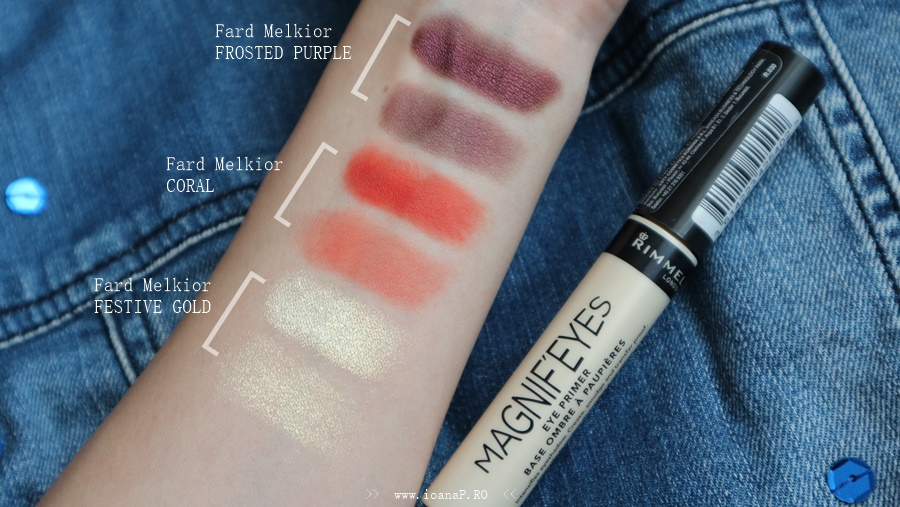review baza pentru fard de la Rimmel London swatch eyeshadows Melkior Professional
