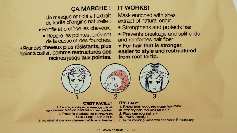 Masca pentru par cu unt de shea de la Sephora informatii de pe ambalaj