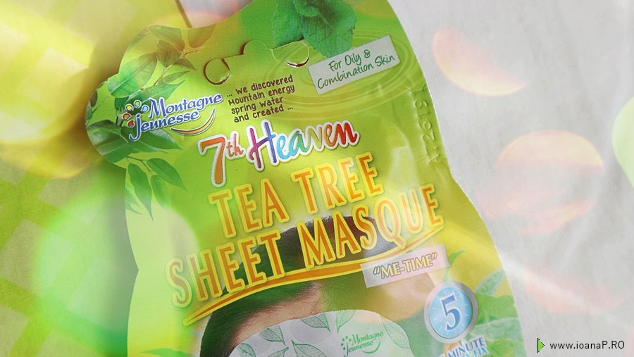 masca tonica de fata cu extract de arbore de ceai si menta de la 7th Heaven - review tea tree sheet masque