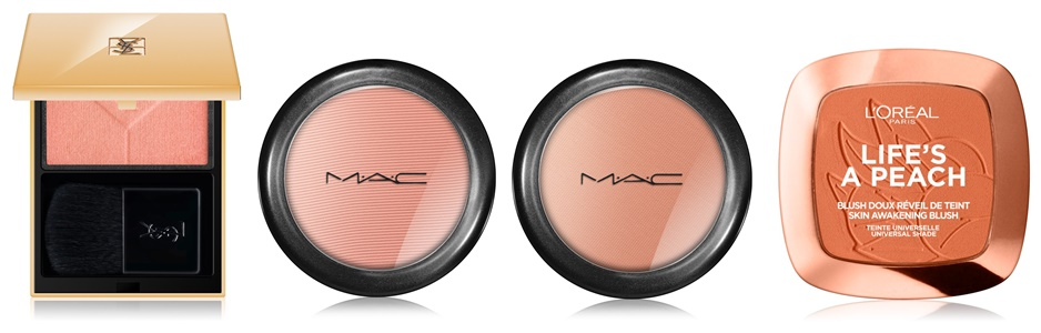 YSL blush, mac melba, mac sincere, loreal paris lifes a peach