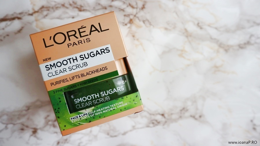 exfoliant facial cu kiwi L'Oreal Paris Smooth Sugars Clear Scrub foto1