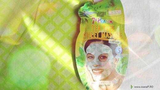masca tonica de fata cu extract de arbore de ceai si menta de la 7th Heaven - tea tree sheet masque review